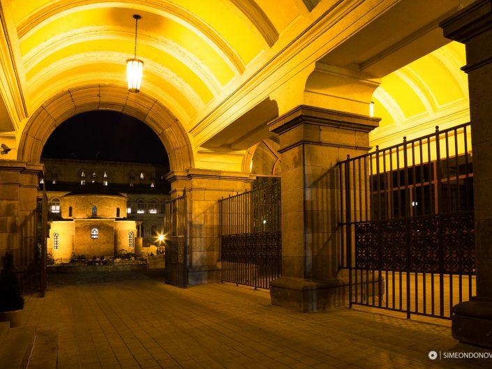 Дворът на президентството, град София. Градска фотография