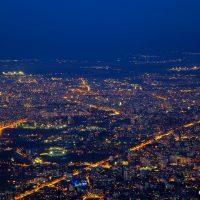 Нощна София, изглед от Витоша. Градска фотография