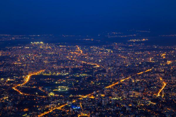 Нощна София, изглед от Витоша