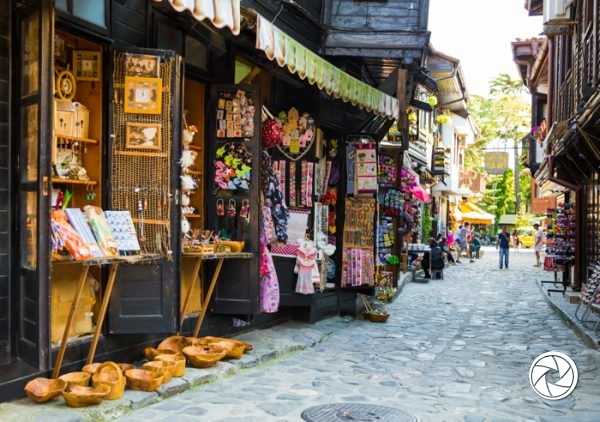 Nesebar, Bulgaria - May 30, 2015: Shopping street in the old town of Nessebar. The town forms part of the Ancient City of Nesebar UNESCO World Heritage Site