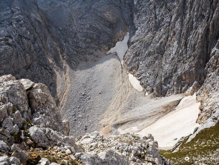 Снежникът в подножието на Северната стена на връх Вихрен, Национален парк Пирин